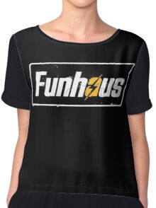Fallout 4 | Funhous | Logo | Black Background | High Quality! Chiffon Top
