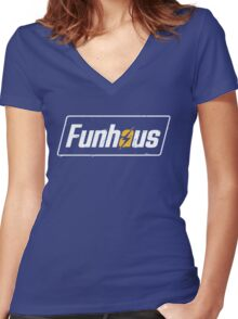 Funhous | Logo | Blue Background | High Quality! Women's Fitted V-Neck T-Shirt