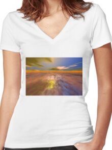 HYPERION WORLD /ALIEN SEASCAPE SKY AND CLOUDS  Sci-Fi Women's Fitted V-Neck T-Shirt
