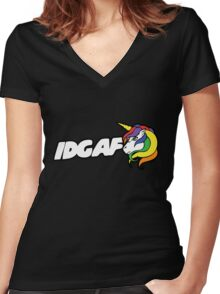 IDGAF Women's Fitted V-Neck T-Shirt