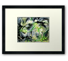 Green Water Cave - Original acrylic painting on Canvas  Framed Print