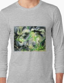 Green Water Cave - Original acrylic painting on Canvas  Long Sleeve T-Shirt