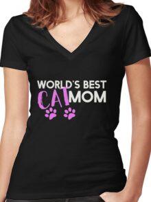 World's best cat mom Women's Fitted V-Neck T-Shirt