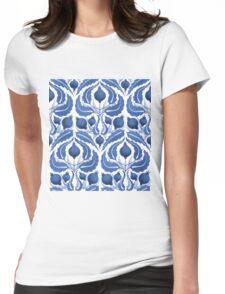 Uzbek inspired blue pattern Womens Fitted T-Shirt