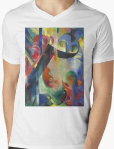 Vintage famous art - Franz Marc - Broken Forms Mens V-Neck T-Shirt