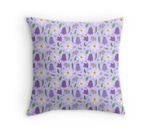 Seamless Daisies And Flowers Pattern Throw Pillow