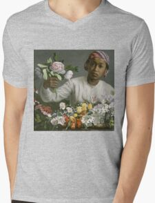 Frederic Bazille - Young Woman With Peonies Mens V-Neck T-Shirt