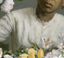 Vintage famous art - Frederic Bazille - Young Woman With Peonies Sticker