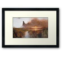 Vintage famous art - Frederic Edwin Church - American Landscape Framed Print