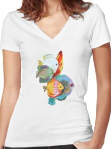 Fish Out Of Water Women's Fitted V-Neck T-Shirt