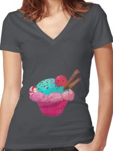 Cupcake! Women's Fitted V-Neck T-Shirt