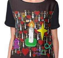 Christian doodles Chiffon Top