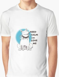 cartoon style illustration keep calm and love me cute white dog Graphic T-Shirt