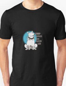 cartoon style illustration keep calm and love me cute white dog T-Shirt