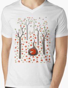 Sleeping Fox Mens V-Neck T-Shirt