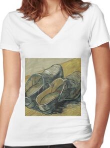 Vincent Van Gogh  - A pair of leather clogs, 1888. Famous Paintings. Impressionism. Women's Fitted V-Neck T-Shirt