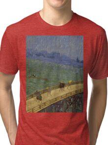 Vincent Van Gogh  - Bridge in the rain after Hiroshige, 1887 Tri-blend T-Shirt
