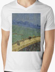 Vincent Van Gogh  - Bridge in the rain after Hiroshige, 1887 Mens V-Neck T-Shirt
