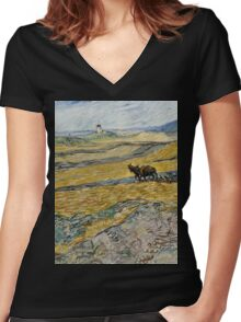 Vincent Van Gogh  - Enclosed Field with Ploughman, 1889 Women's Fitted V-Neck T-Shirt