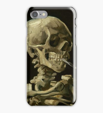 Vincent Van Gogh  - Head of a skeleton with a burning cigarette, 1886.  iPhone Case/Skin