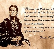 FRIDA Kahlo - the mistress of ARTs - sepia QUOTE by ARTito
