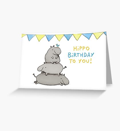 Hippo Birthday Greeting Card
