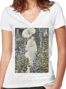 Frederick Carl Frieseke - Sun And Wind . Аmerican, Impressionism Women's Fitted V-Neck T-Shirt