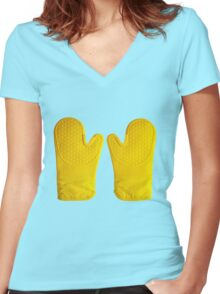 Oven Gloves Yellow Women's Fitted V-Neck T-Shirt