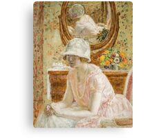 Vintage famous art - Frederick Carl Frieseke - Young Girl Before A Mirror In A Pink Dress Canvas Print