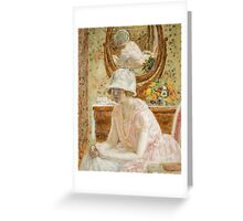 Vintage famous art - Frederick Carl Frieseke - Young Girl Before A Mirror In A Pink Dress Greeting Card