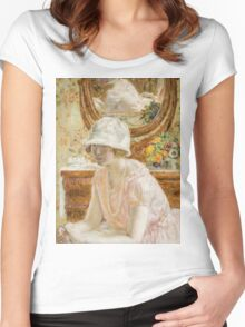Vintage famous art - Frederick Carl Frieseke - Young Girl Before A Mirror In A Pink Dress Women's Fitted Scoop T-Shirt