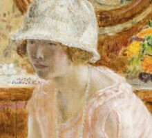 Vintage famous art - Frederick Carl Frieseke - Young Girl Before A Mirror In A Pink Dress Sticker