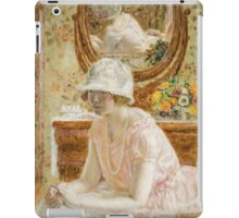 Vintage famous art - Frederick Carl Frieseke - Young Girl Before A Mirror In A Pink Dress iPad Case/Skin