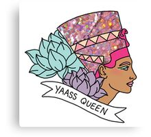 Nefertiti Cleopatra Egyptian lotus beyonce glitter yas yaass queen broad city girly print Canvas Print