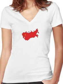 Flag Map of the Soviet Union Women's Fitted V-Neck T-Shirt