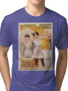 Vintage famous art - Gaston Noury - Les Corsets Le Furet Poster Tri-blend T-Shirt