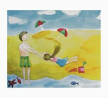 Fun at the beach watercolor painting One Piece - Short Sleeve