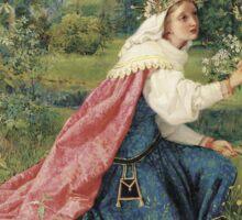 Vintage famous art - George Dunlop Leslie - Matilda - Dante, Purgatorio Sticker
