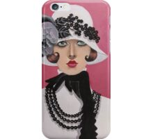 Lady dressed in black and white iPhone Case/Skin