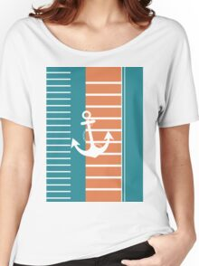 Trendy Nautical Stripe Design Women's Relaxed Fit T-Shirt
