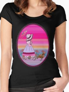 Sunbonnet  walking with dachshund love dogs Women's Fitted Scoop T-Shirt