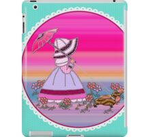Sunbonnet  walking with dachshund love dogs iPad Case/Skin