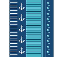 Trendy Blue White Stripes Nautical Design Photographic Print