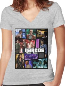 narcos gta poster Women's Fitted V-Neck T-Shirt