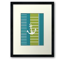Turquoise Blue Green Stripe Nautical Design Framed Print