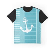 Trendy Nautical Blue and White Stripe Design Graphic T-Shirt