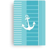 Trendy Nautical Blue and White Stripe Design Canvas Print