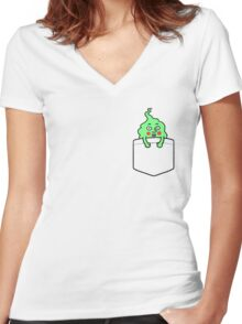 pocket dimple Women's Fitted V-Neck T-Shirt