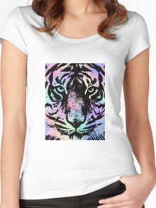 Watercolor Tiger Women's Fitted Scoop T-Shirt