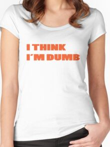 Dumb Stupid Simple Funny Cool Orange Tetx Women's Fitted Scoop T-Shirt